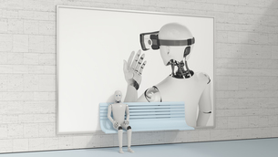 Robot sitting on bench in front of billboard, 3D Renderingのイラスト素材 [FYI04334193]