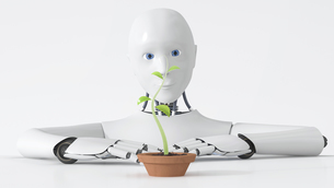Robot watching green plant growing in plant potのイラスト素材 [FYI04334195]
