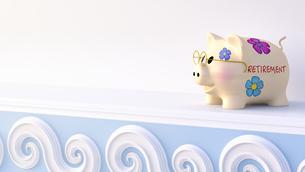 Retirement piggy bank wearing glasses on shelfのイラスト素材 [FYI04334197]