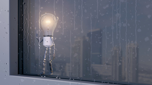Light bulb looking out of rainy windowのイラスト素材 [FYI04334200]