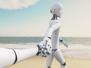 Robot walking hand in hand on the beach, 3d renderingのイラスト素材 [FYI04334206]
