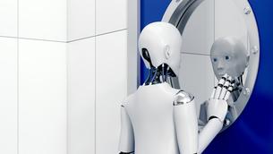 Robot looking at mirror image through safety door, 3d renderのイラスト素材 [FYI04334207]