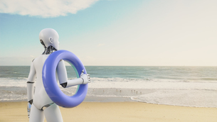 Robot holding floating tire on the beach, 3d renderingのイラスト素材 [FYI04334209]