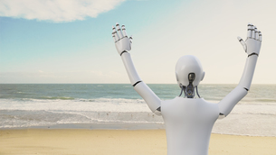 Robot raising his arms on the beach, 3d renderingのイラスト素材 [FYI04334211]