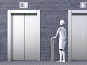 Robot standing in front of elevatorのイラスト素材 [FYI04334214]