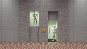 Robot standing in elevator, watching each otherのイラスト素材 [FYI04334216]