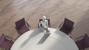 Robot sitting sitting at conference table, using laptopのイラスト素材 [FYI04334219]