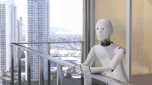 Robot standing standing on balconyのイラスト素材 [FYI04334220]