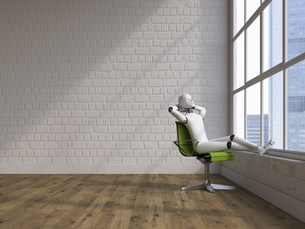 Robot sitting on swivel chair, looking out of windowのイラスト素材 [FYI04334221]