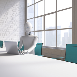 Robot sitting sitting at conference table, using laptopのイラスト素材 [FYI04334222]