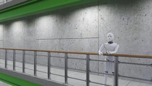 Robot standing in corridor, leaning on railingのイラスト素材 [FYI04334223]