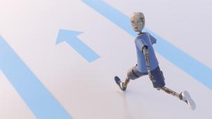Robot running away, 3d renderingのイラスト素材 [FYI04334225]