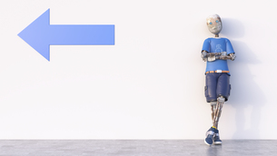 Robot leaning against a wall with arrow, 3d renderingのイラスト素材 [FYI04334228]