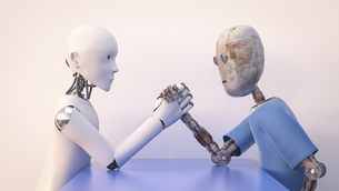 Two robots arm wrestling, 3d renderingのイラスト素材 [FYI04334229]