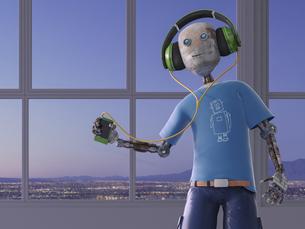 Robot listening to music with headphones, 3d renderingのイラスト素材 [FYI04334232]