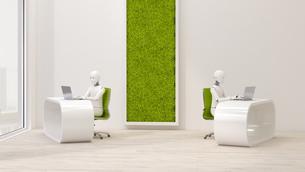 Robots using laptops in futuristic office , 3d renderingのイラスト素材 [FYI04334235]