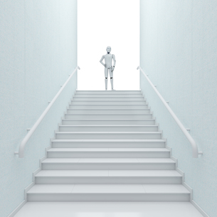 Robot standing on top of stairs, 3d renderingのイラスト素材 [FYI04334238]