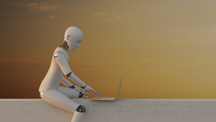 Robot sitting on wall using laptop, 3d renderingのイラスト素材 [FYI04334243]