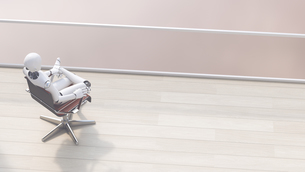 Robot sitting on office chair relaxing, 3d renderingのイラスト素材 [FYI04334244]
