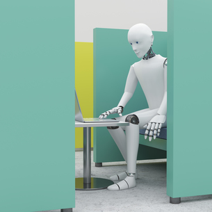 Robot using laptop in office cubicle, 3d renderingのイラスト素材 [FYI04334245]