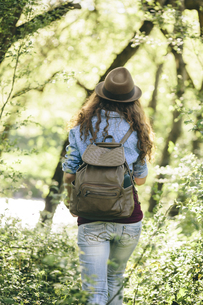 Back view of hiking young woman with backpackの写真素材 [FYI04334348]