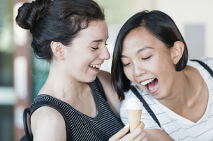 Portrait of two best friends having fun togetherの写真素材 [FYI04334393]