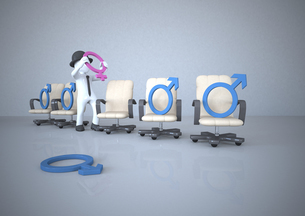 White manikin putting venus symbol on swivel chairのイラスト素材 [FYI04334409]