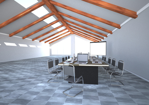 Meeting room with notebooks and flipchart, 3D Renderingのイラスト素材 [FYI04334415]