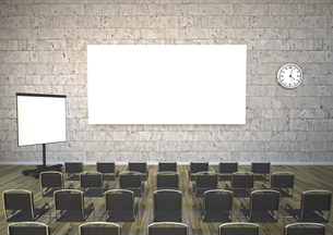 Meeting room with chairs, flipchart and projection screen, 3のイラスト素材 [FYI04334416]