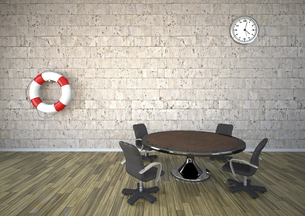 Live saver and clock hanging on natural stone wall in a meetのイラスト素材 [FYI04334419]