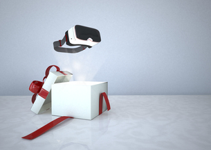 Virtual Reality Glasses and opened gift boxのイラスト素材 [FYI04334422]