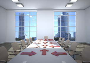 3d illustration, Business room, arrows on tableのイラスト素材 [FYI04334423]
