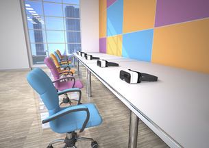 Row of Virtual Reality Glasses in a presentation roomのイラスト素材 [FYI04334426]