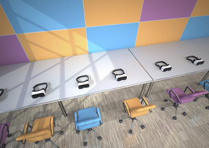 Row of Virtual Reality Glasses in a modern presentation roomのイラスト素材 [FYI04334428]
