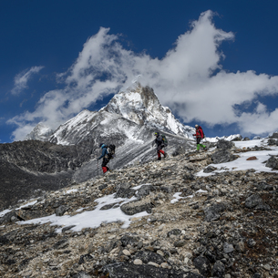 Nepal, Himalaya, Solo Khumbu, Ama Dablam, three Gurkhas trekの写真素材 [FYI04334488]