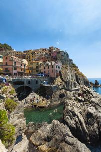 Italy, Liguria, La Spezia, Cinque Terre, Manarola, view to vの写真素材 [FYI04334594]