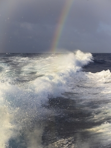 Caribbean, Martinique, Waves and rainbw above the oceanの写真素材 [FYI04334603]