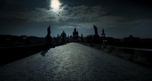 Czech Republic, Prague, Charles Bridge in back lightの写真素材 [FYI04334609]