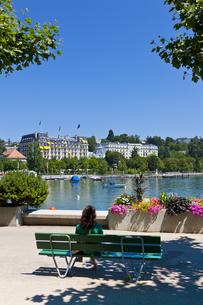 Switzerland, Canton Vaud, Lausanne, Lake Geneva, Harbour ofの写真素材 [FYI04334612]