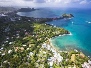 Caribbean, St. Lucia, Cap Estate, Cottan Bay Village, aerialの写真素材 [FYI04334628]