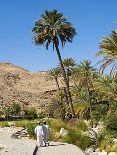 Oman, Sharqiyah, back view of two men on the way to Wadi Banの写真素材 [FYI04334701]