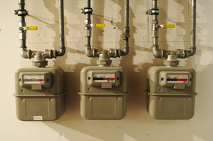 Three gas metersの写真素材 [FYI04334953]