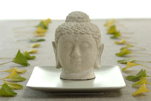 Buddha head and ginkgo leaves, close-upの写真素材 [FYI04334962]