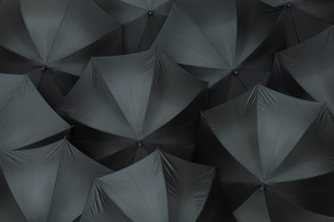 Open black umbrellas, close upの写真素材 [FYI04335022]