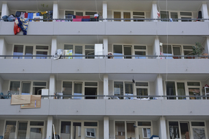 Balconies of a multi-family house, partial viewの写真素材 [FYI04335091]