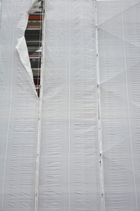 House front with white cladding and a toreの写真素材 [FYI04335103]
