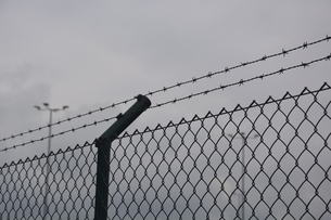 Barbed wire fence and wire mesh fence in front of grey skyの写真素材 [FYI04335112]