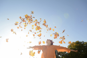 Young woman throwing autum leaves in the airの写真素材 [FYI04335410]