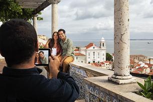 Portugal, Lisboa, Alfama, Miradouro de Santa Luzia, someoneの写真素材 [FYI04335428]