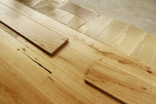 Laying finished oak parquet flooring, close-upの写真素材 [FYI04335442]